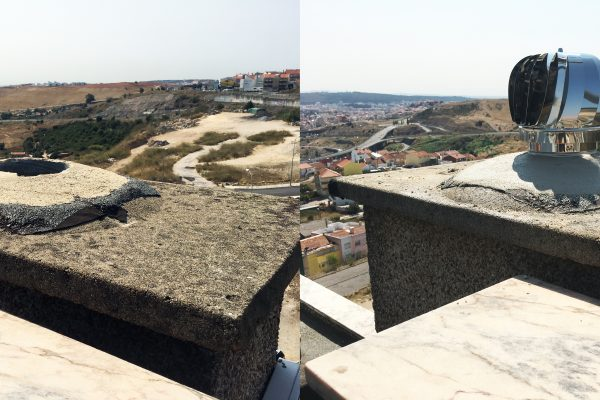 Colocação de girândolas - Antes e depois
