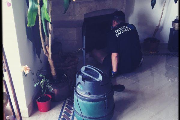 Limpeza da chaminé da lareira