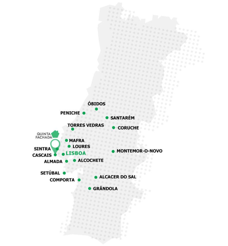 zonas do país onde actuamos